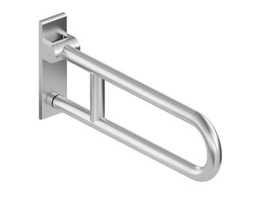 Maniglione bagno ad U ribaltabile in acciaio inox con portarotolo RANGE 805 | Maniglione bagno ribaltabile