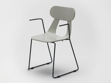 Sled base stackable wooden chair with armrests RAPA METAL