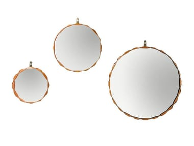 Round wall-mounted framed mirror RAPERONZOLO
