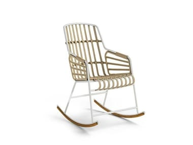 Rocking rattan chair with armrests RAPHIA ROCKING