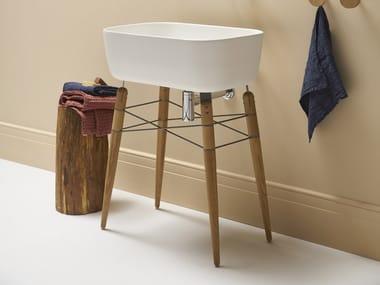 Móvel lavatório com pes de madeira RAY | Lavatório para console