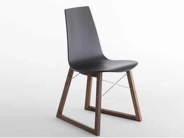 Sled base wooden chair RAY | Chair