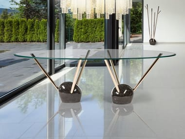 Oval glass table RAYS | Oval table