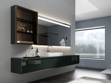 Wall-mounted lacquered glass vanity unit with drawers REA