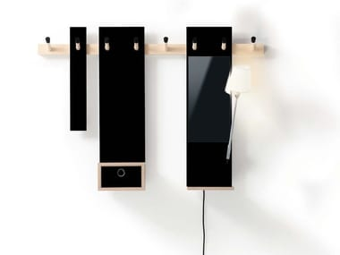 Wall-mounted wooden coat rack RECHENBEISPIEL