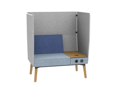 1,5-seater bench with privacy panel and electrification REEFS | High-back armchair