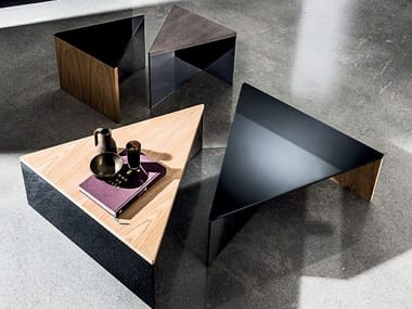 Triangular wood and glass coffee table REGOLO TRIANGULAR