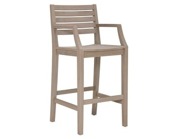 High teak barstool with armrests RELAIS | Stool with armrests