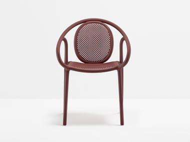 Sedia impilabile in polipropilene con braccioli REMIND | Sedia