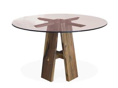 Tavolo rotondo in vetro con base in palissandro RENZO | Tavolo