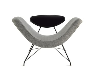 Upholstered fabric easy chair with armrests REVERSIVEL