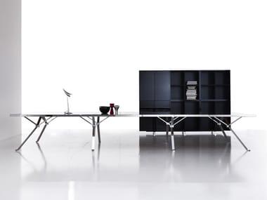 Tavolo da riunione rettangolare in vetro REVO | Tavolo da riunione