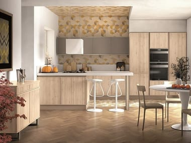 Ash kitchen with integrated handles REWIND | Kitchen with peninsula