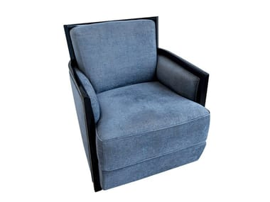 Upholstered fabric armchair with removable cover with armrests REX | Fabric armchair
