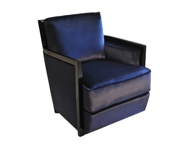 Upholstered leather armchair with removable cover with armrests REX | Leather armchair