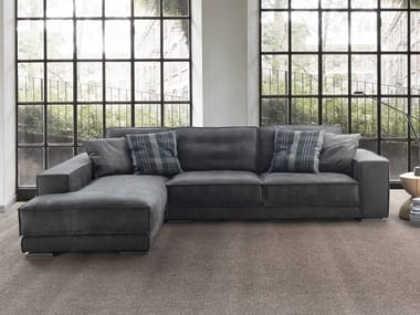 Sectional leather sofa with chaise longue REX TAGLIO VIVO