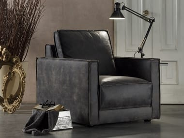 Leather armchair with armrests REXINA