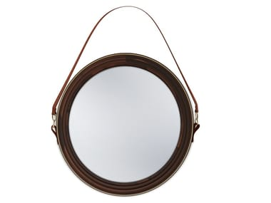 Round wall-mounted framed walnut mirror REYNOLDS