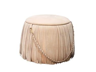 Round leather pouf RIBBON