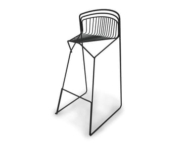 High sled base steel stool with back RIBELLE | High stool