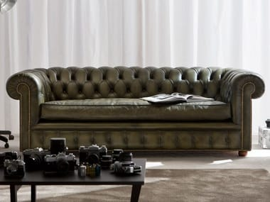 Tufted 3 seater leather sofa RICHMOND