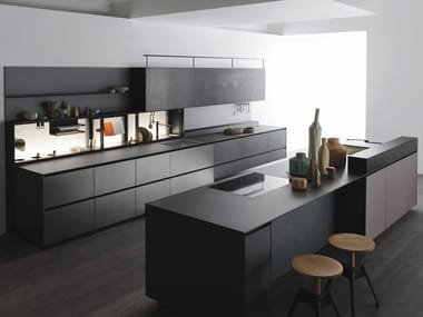 Laminate kitchen with island with integrated handles RICICLANTICA LEAD ALLUMINIUM