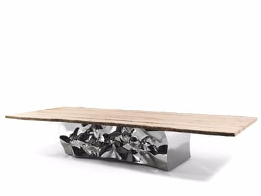 Rectangular stainless steel and wood table RIFLESSI IN LAGUNA