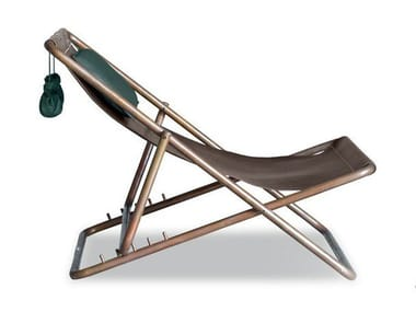 Folding leather deck chair RIMINI | Deck chair