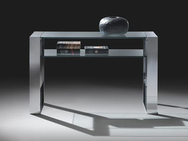 Rectangular glass and steel console table RING | Console table