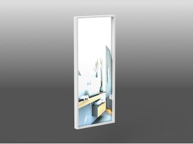 Rectangular wall-mounted framed Corian® mirror RING | Corian® mirror