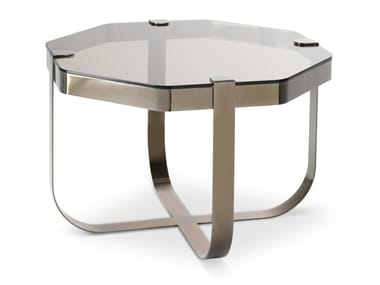Octagonal glass and iron coffee table RING | Octagonal coffee table