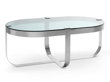 Oval glass and iron coffee table RING | Oval coffee table