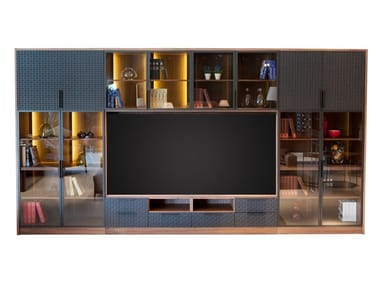 Wood and glass TV wall system RITMO