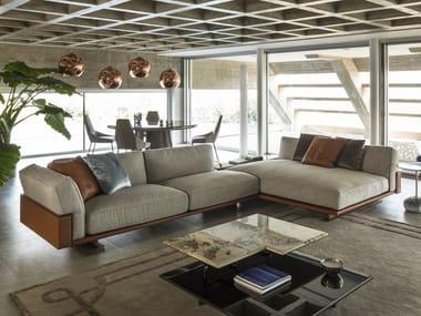 Corner modular fabric sofa with integrated magazine rack RITUAL | Corner sofa