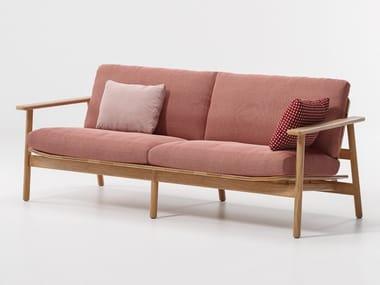 Upholstered wooden garden sofa RIVA | 3 seater garden sofa