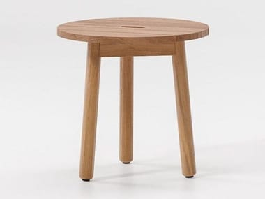 Low round teak coffee table RIVA | Teak coffee table