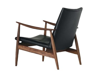 Upholstered leather armchair with armrests RIVAGE | Armchair