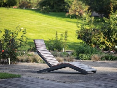 Steel and wood sun lounger RIVAGE | Steel and wood sun lounger