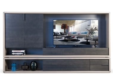 Freestanding lacquered MDF storage wall RIVE DROITE | Storage wall
