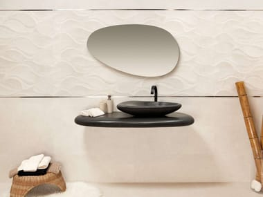 Oval wall-mounted natural stone washbasin RIVER STONE