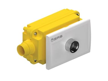Flush-mounting gas box with outlet fitting RK
