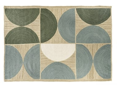 Rectangular jute rug with geometric shapes ROCKY