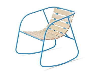 Rocking steel and wood garden chair ROCKY | Rocking chair