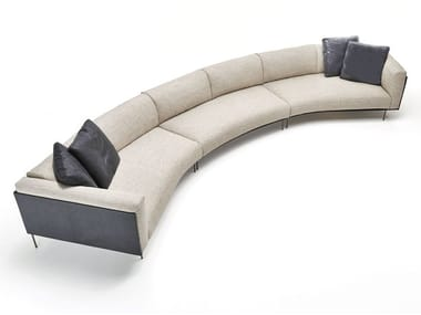 Curved fabric sofa with removable cover ROD BEAN