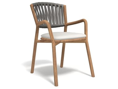 Teak garden chair with integrated cushion PIPER 161