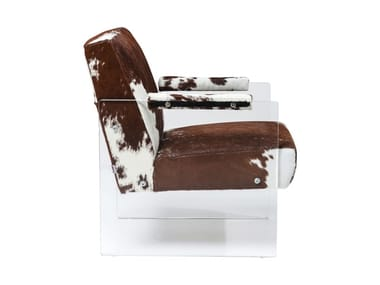 Cowhide armchair with armrests RODEO VISIBLE | Armchair