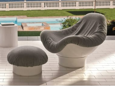 Swivel Dacron® armchair with footstool RODICA