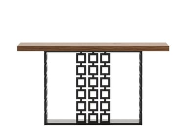 Rectangular stainless steel and wood console table ROISSY | Console table