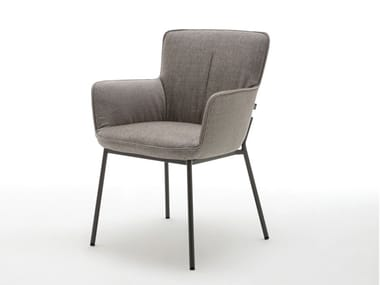 Upholstered fabric chair with armrests ROLF BENZ 655 | Fabric chair