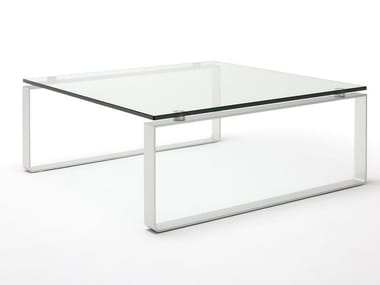 Superbe Sled Base Square Glass And Steel Coffee Table ROLF BENZ 8710